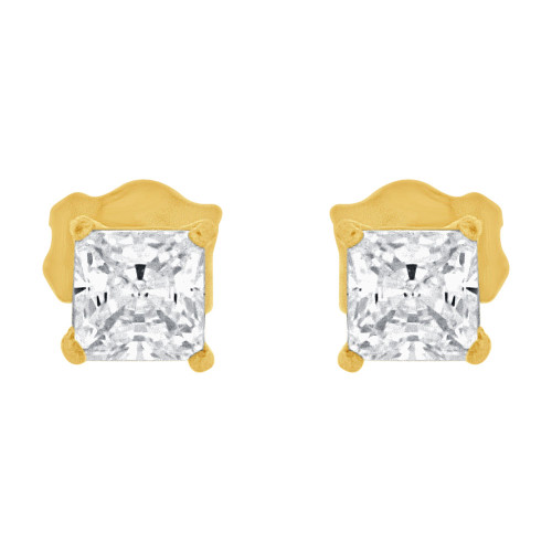 14k Yellow Gold, Princess Cut 3.5mm Square Stud Earring Push Back Created CZ Crystals (E123-012)