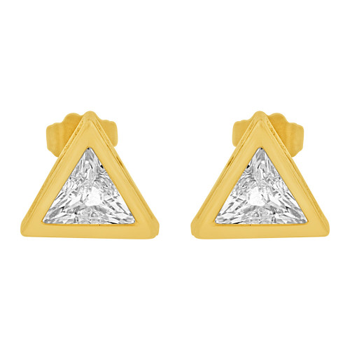 14k Yellow Gold, Trillion Triangle Cut Bezel 9mm Stud Earring Push Back Created CZ Crystals (E123-013)
