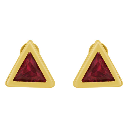 14k Yellow Gold, Trillion Triangle Cut Bezel 7.5mm Stud Earring Screw Back Created CZ Crystals (E123-017)