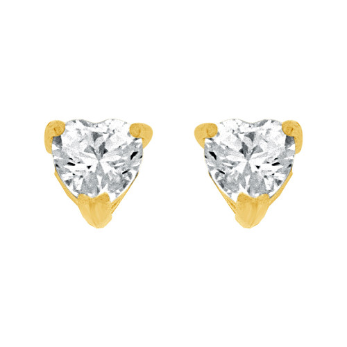 14k Yellow Gold, 4mm Heart Apr Birthstone Stud Push Back Earring Created CZ Crystals (E124-001)