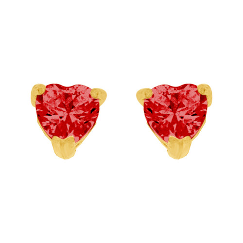 14k Yellow Gold, 4mm Heart Jul Birthstone Stud Push Back Earring Created CZ Crystals (E124-002)