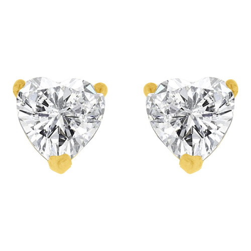 14k Yellow Gold, 5mm Heart Apr Birthstone Stud Push Back Earring Created CZ Crystals (E124-003)