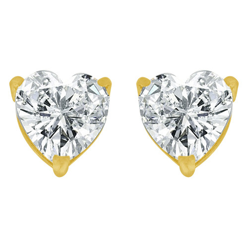 14k Yellow Gold, 8mm Heart Apr Birthstone Stud Push Back Earring Created CZ Crystals (E124-007)