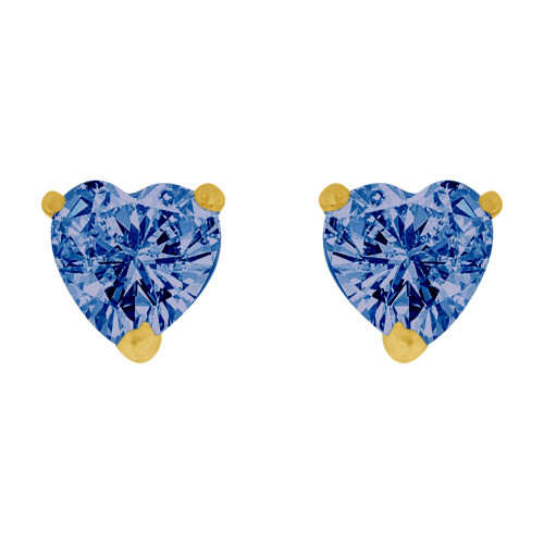 14k Yellow Gold, 5mm Heart Sep Birthstone Stud Screw Back Earring Created CZ Crystals (E124-008)