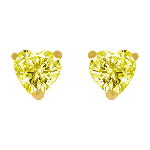14k Yellow Gold, 5mm Heart Nov Birthstone Stud Push Back Earring Created CZ Crystals (E124-009)