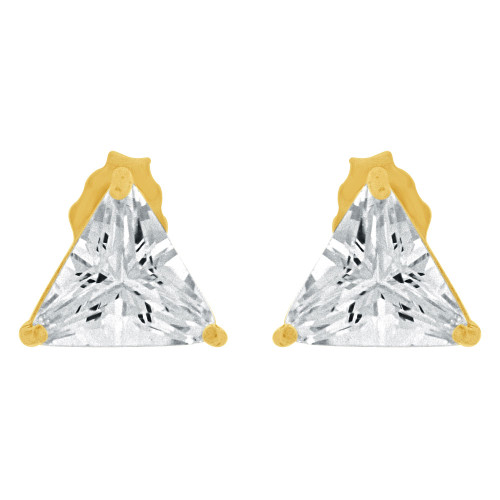 14k Yellow Gold, 7.5mm Trillion Triangle Stud Push Back Earring Created CZ Crystals (E124-010)