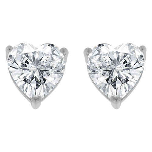 14k Gold White Rhodium, 8.5mm Heart Stud Push Back Earring Created CZ Crystals (E124-011)
