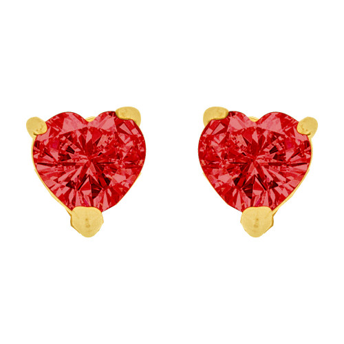 14k Yellow Gold, 5mm Heart Jan Birthstone Stud Push Back Earring Created CZ Crystals (E124-401)