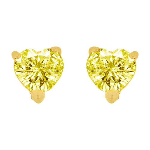 14k Yellow Gold, 5mm Heart Nov Birthstone Stud Push Back Earring Created CZ Crystals (E124-411)