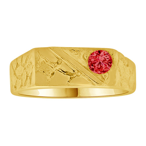 14k Yellow Gold, Mini Nugget Baby Ring Created Red CZ (R254-207)