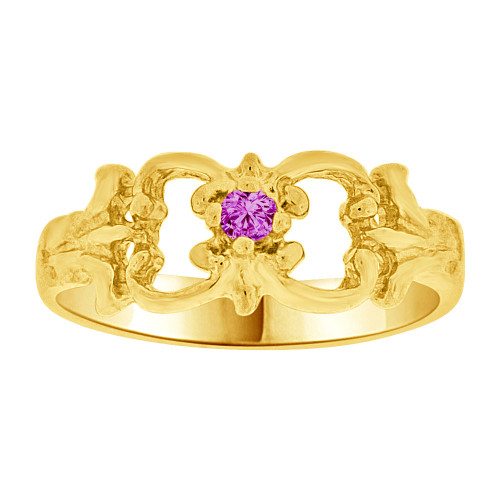 14k Yellow Gold, Small Fancy Baby Ring Created Purple CZ Crystal (R255-202)