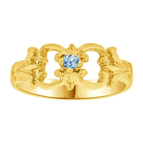 14k Yellow Gold, Small Fancy Baby Ring Created Aqua Blue CZ Crystal (R255-203)