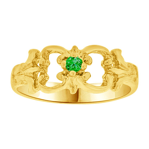 14k Yellow Gold, Small Fancy Baby Ring Created Green CZ Crystal (R255-205)