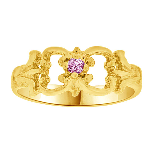 14k Yellow Gold, Small Fancy Baby Ring Created Light Purple CZ Crystal (R255-206)