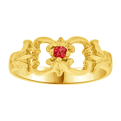 14k Yellow Gold, Small Fancy Baby Ring Created Red CZ Crystal (R255-207)