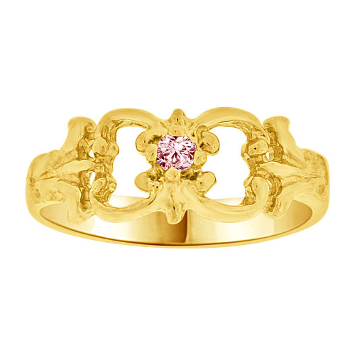 14k Yellow Gold, Small Fancy Baby Ring Created Pink CZ Crystal (R255-210)