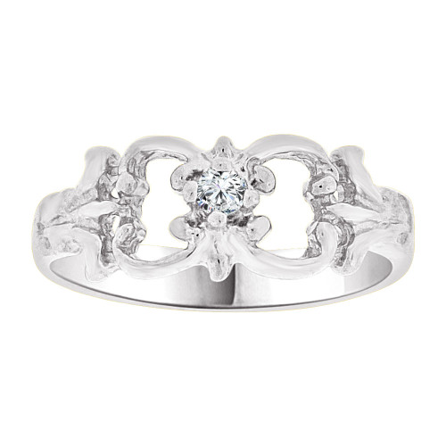 14k Gold White Rhodium, Small Fancy Baby Ring Created Purple CZ Crystal (R255-254)