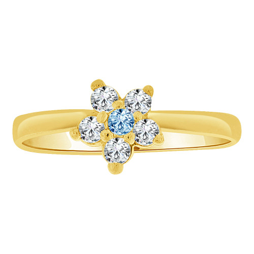 14k Yellow Gold, Small Flower Ring Cluster Created Aqua Blue CZ Crystals (R255-403)