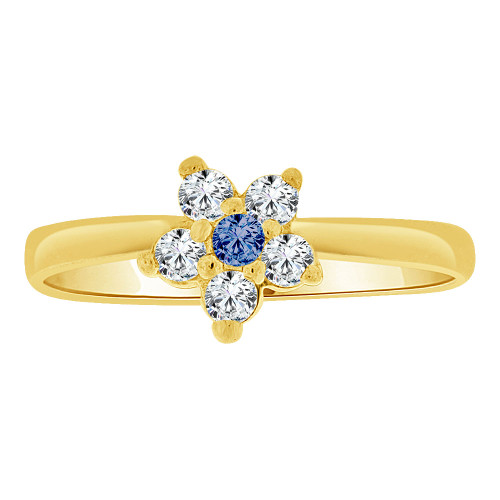 14k Yellow Gold, Small Flower Ring Cluster Created Blue CZ Crystals (R255-409)