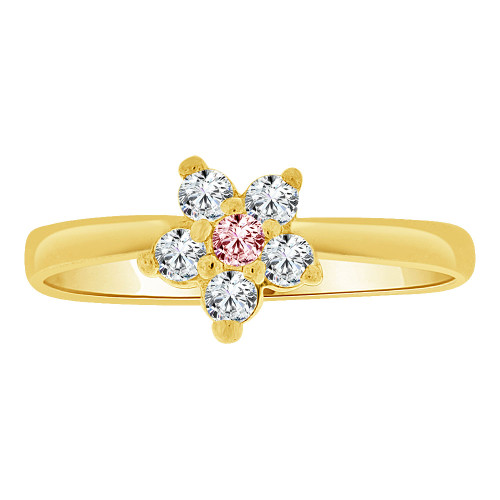 14k Yellow Gold, Small Flower Ring Cluster Created Pink CZ Crystals (R255-410)