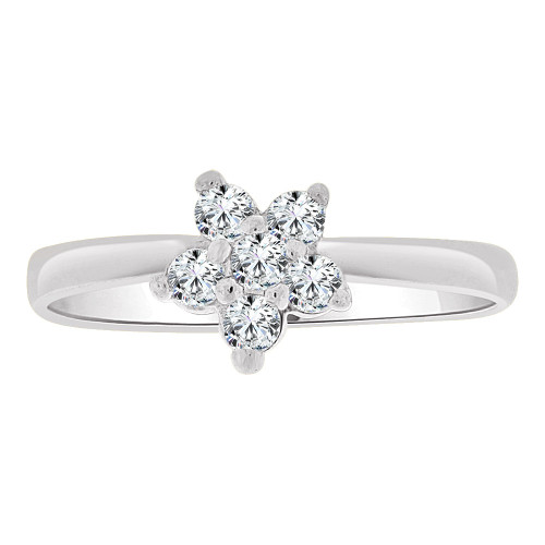 14k Gold White Rhodium, Small Flower Ring Cluster Created CZ Crystals (R255-454)