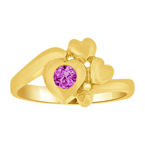 14k Yellow Gold, Baby Hearts Ring Created Purple CZ Crystal Abstract Hearts (R255-502)