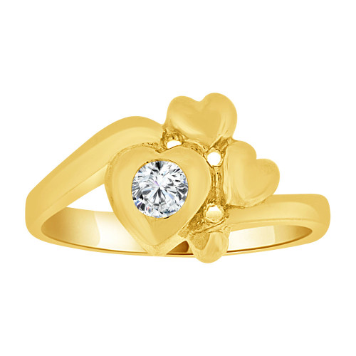 14k Yellow Gold, Baby Ring Created CZ Crystal Abstract Hearts (R255-504)