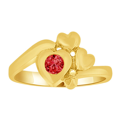 14k Yellow Gold, Baby Ring Created Red CZ Crystal Abstract Hearts (R255-507)