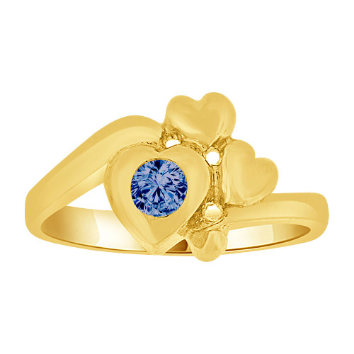 14k Yellow Gold, Baby Ring Created Blue CZ Crystal Abstract Hearts (R255-509)
