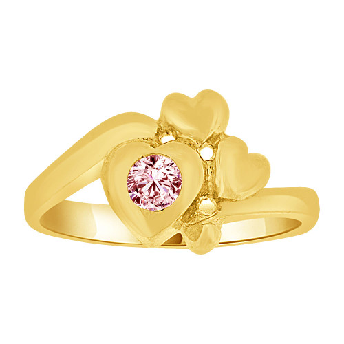 14k Yellow Gold, Baby Ring Created Pink CZ Crystal Abstract Hearts (R255-510)