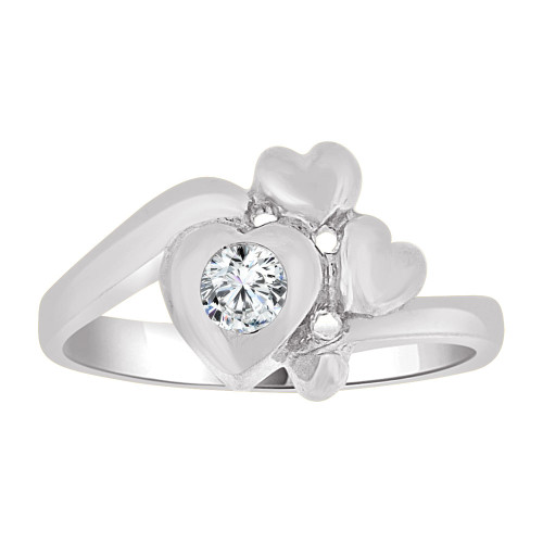 14k Gold White Rhodium, Baby Ring Created CZ Crystal Abstract Hearts (R255-554)