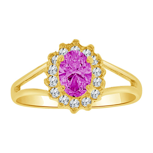 14k Yellow Gold, Small Oval Ring Cluster Created Purple CZ Crystals (R255-602)