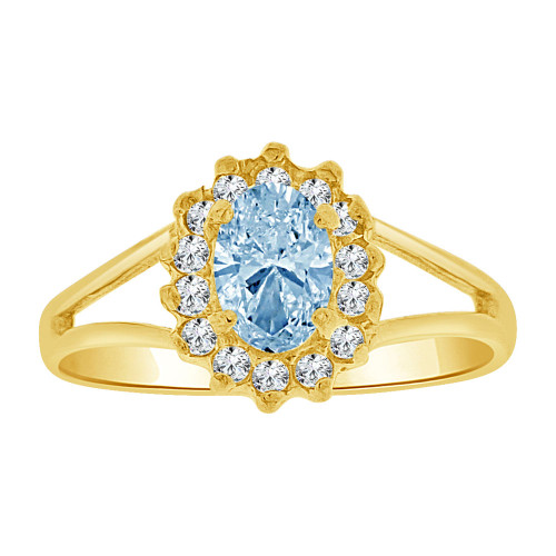 14k Yellow Gold, Small Oval Ring Cluster Created Aqua Blue CZ Crystals (R255-603)