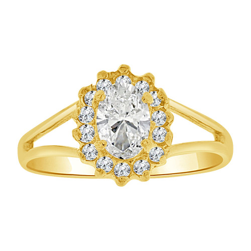 14k Yellow Gold, Small Oval Ring Cluster Created CZ Crystals (R255-604)