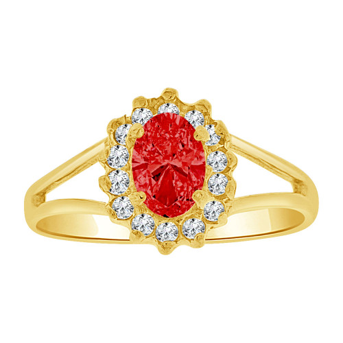 14k Yellow Gold, Small Oval Ring Cluster Created Red CZ Crystals (R255-607)