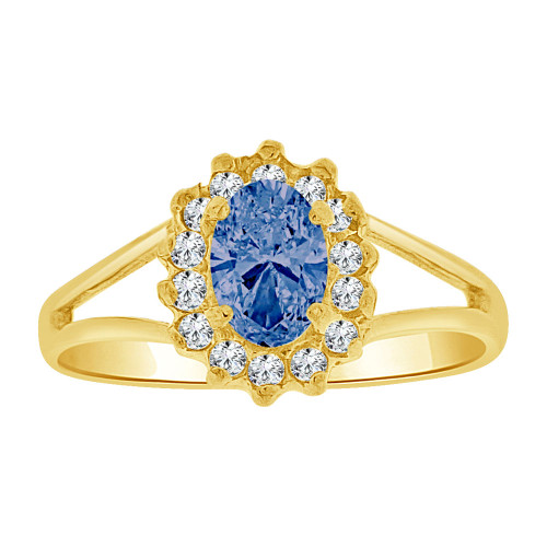 14k Yellow Gold, Small Oval Ring Cluster Created Blue CZ Crystals (R255-609)