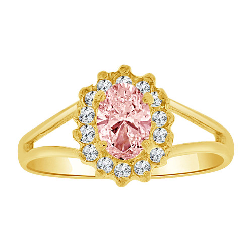 14k Yellow Gold, Small Oval Ring Cluster Created Pink CZ Crystals (R255-610)