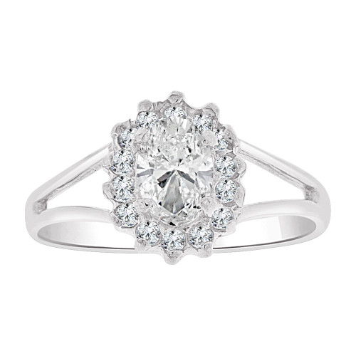 14k Gold White Rhodium, Small Oval Ring Cluster Created CZ Crystals (R255-654)