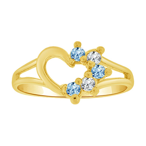 14k Yellow Gold, Small Size Ring Created CZs Heart Children & Adult Pinky (R256-103)