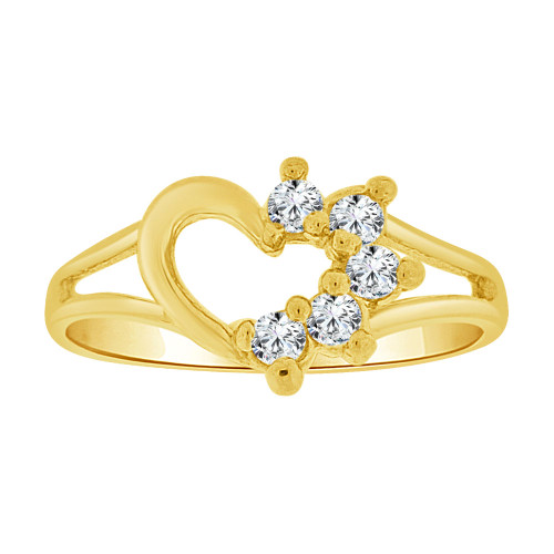 14k Yellow Gold, Small Size Ring Created CZs Heart Children & Adult Pinky (R256-104)