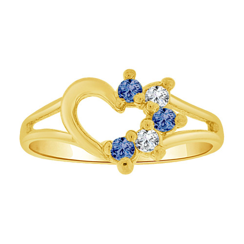 14k Yellow Gold, Small Size Ring Created CZs Heart Children & Adult Pinky (R256-109)