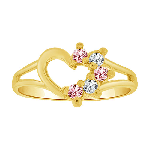 14k Yellow Gold, Small Size Ring Created CZs Heart Children & Adult Pinky (R256-110)