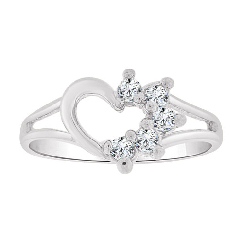 14k White Gold, Small Size Ring Created CZs Heart Children & Adult Pinky (R256-154)