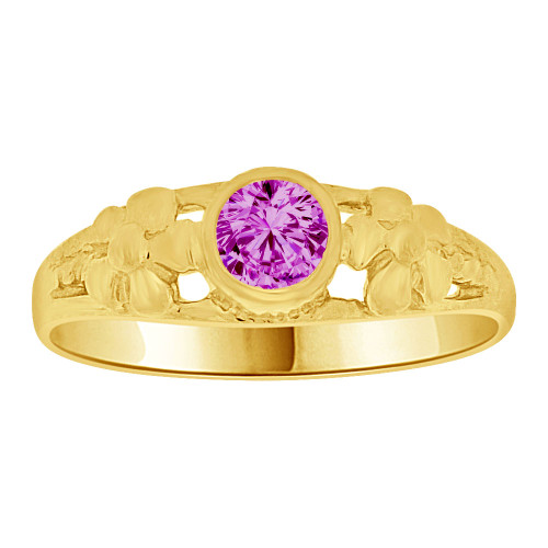 14k Yellow Gold, Mini Size Child or Adult Pinky Ring Created CZ Band Design (R256-402)