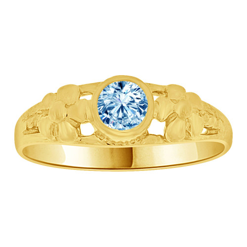 14k Yellow Gold, Mini Size Child or Adult Pinky Ring Created CZ Band Design (R256-403)