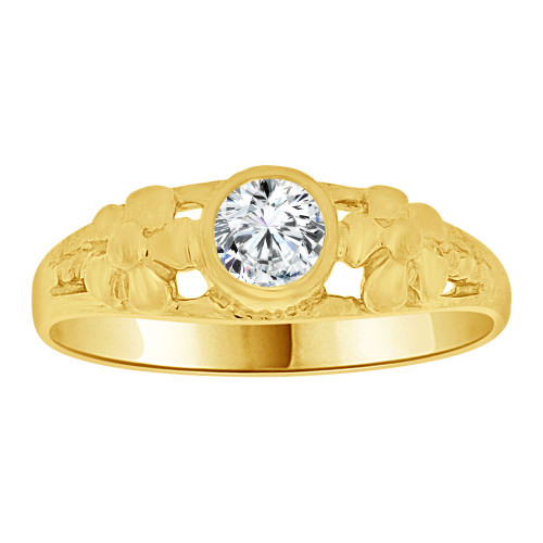 14k Yellow Gold, Mini Size Child or Adult Pinky Ring Created CZ Band Design (R256-404)