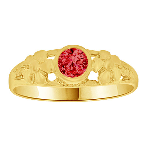 14k Yellow Gold, Mini Size Child or Adult Pinky Ring Created CZ Band Design (R256-407)