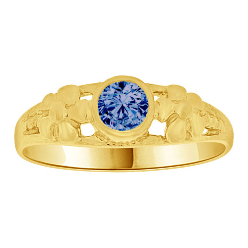 14k Yellow Gold, Mini Size Child or Adult Pinky Ring Created CZ Band Design (R256-409)