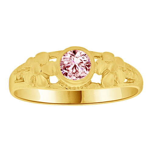 14k Yellow Gold, Mini Size Child or Adult Pinky Ring Created CZ Band Design (R256-410)