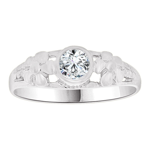 14k White Gold, Mini Size Child or Adult Pinky Ring Created CZ Band Design (R256-454)